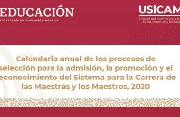 Calendario 2020 para admisión, promoción y reconocimiento